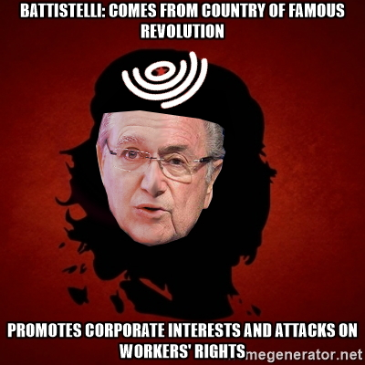 Battistelli: Comes from country of famous revolution; Promotes corporate interests and attacks on workers' rights