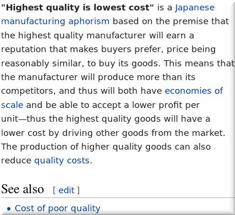 Highest quality is lowest cost