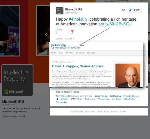 Microsoft links to David Kappos