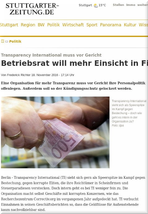 Article about Transparency International