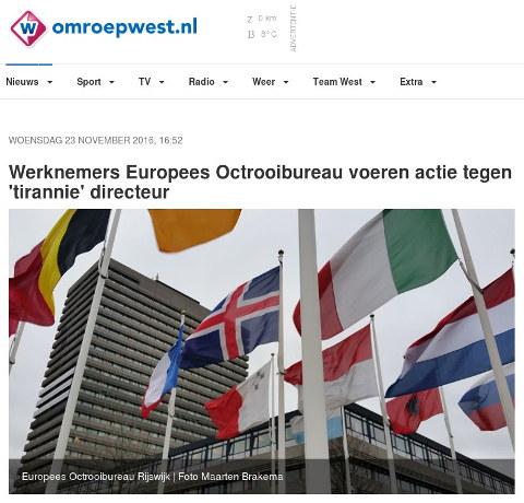 Werknemers Europees Octrooibureau voeren actie tegen 'tirannie' directeur