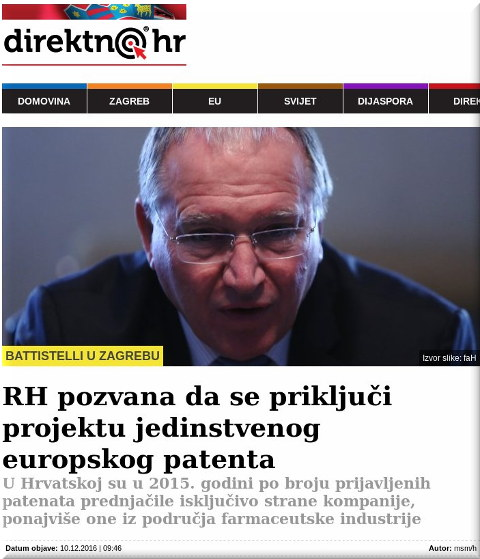 Battistelli in Croatian media