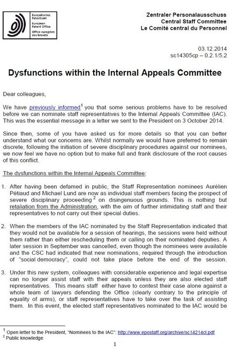 Internal Appeals Committee of the EPO