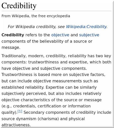 Wikipedia on credibility
