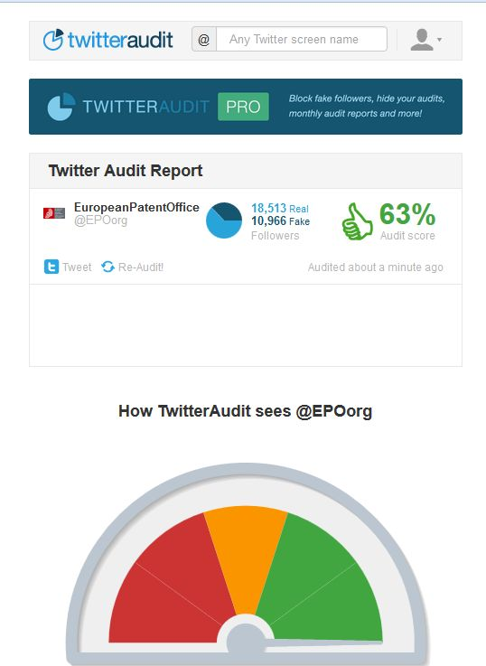 Twitter audit for EPO
