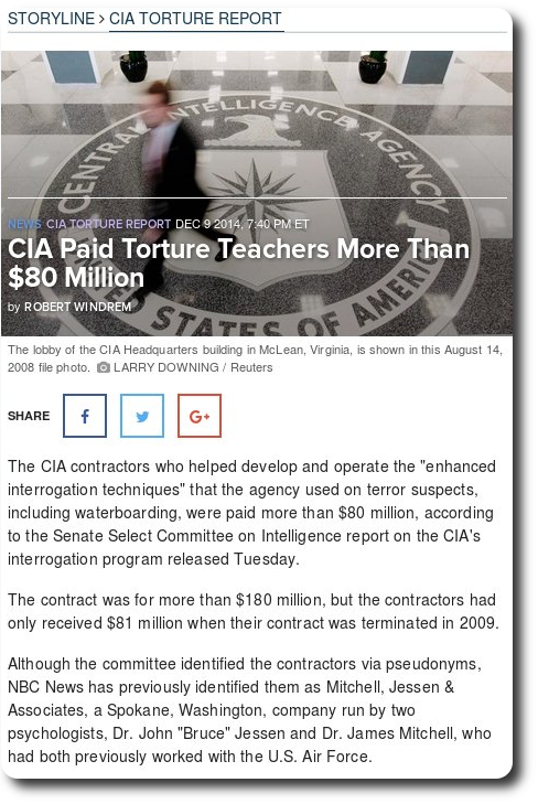 CIA Paid Torture Teachers More Than $80 Million