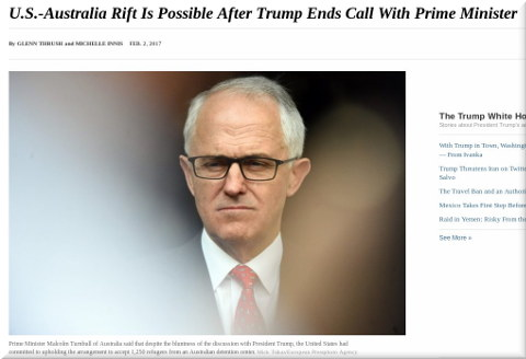 U.S.-Australia Rift Is Possible After Trump Ends Call With Prime Minister