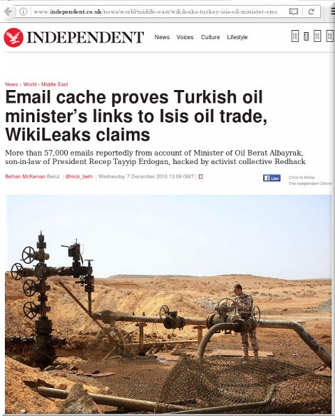 Email cache proves Turkish oil minister's links to Isis oil trade, WikiLeaks claims
