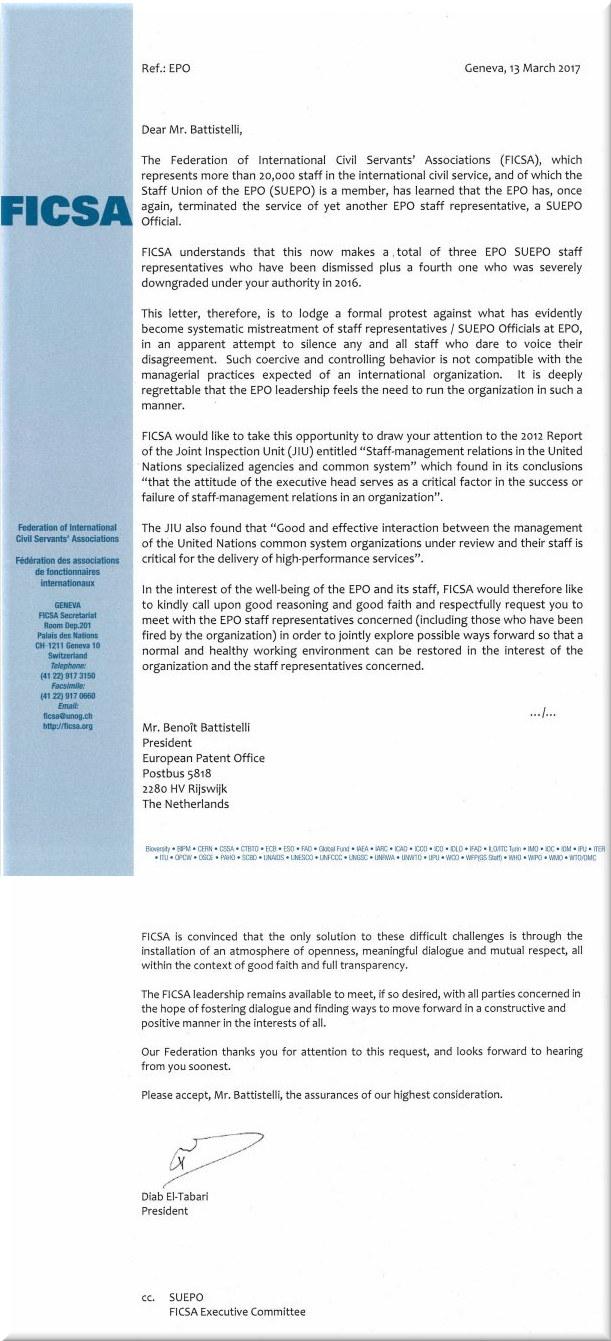 FICSA letter