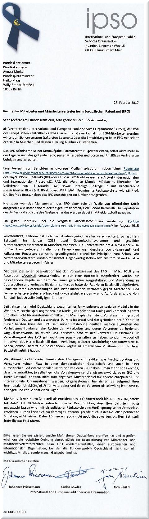IPSO letter to Angela Merkel