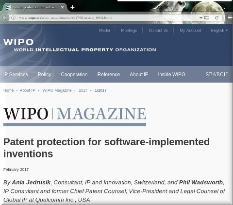 WIPO magazine for software patents