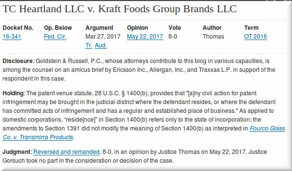 TC Heartland LLC v Kraft Foods Group Brands LLC