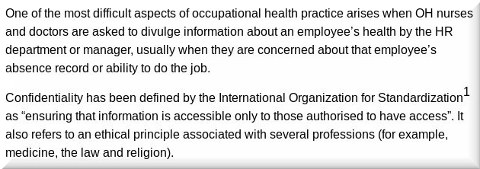Confidentiality and occupational health: Your secret's safe with OH