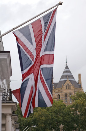 Union Jack blowing in the wind in London England