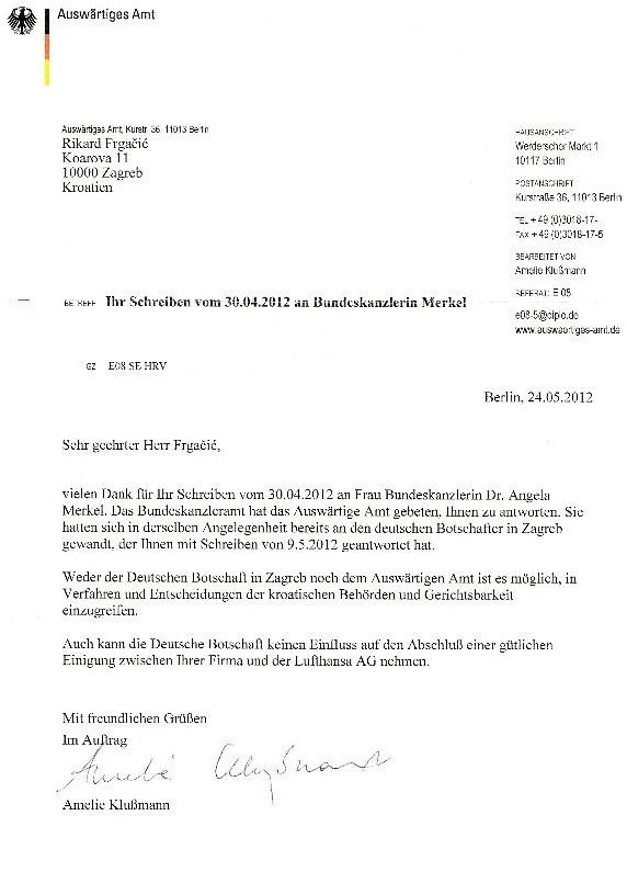 Complaint to Merkel