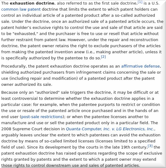 Patent Exhaustion