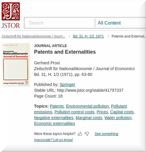 On patent externality