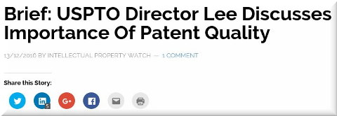 USPTO Director Lee Discusses Importance Of Patent Quality