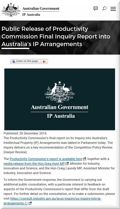 Public Release of Productivity Commission Final Inquiry Report into Australia's IP Arrangements