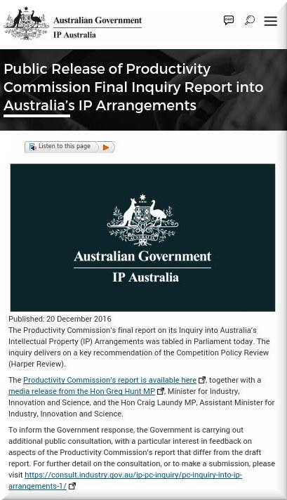 Public Release of Productivity Commission Final Inquiry Report into Australia's IP Arrangements