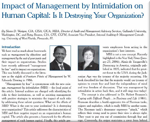 Management by Intimidation