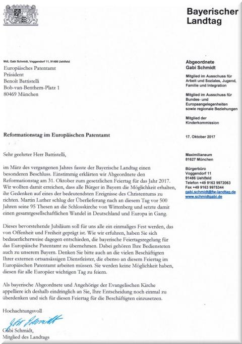 Gabi Schmidt's letter to the EPO's President