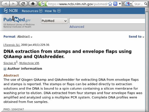 DNA extraction from stamps and envelope flaps using QIAamp and QIAshredder.