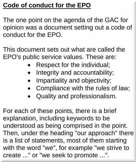 EPO Code of Conduct