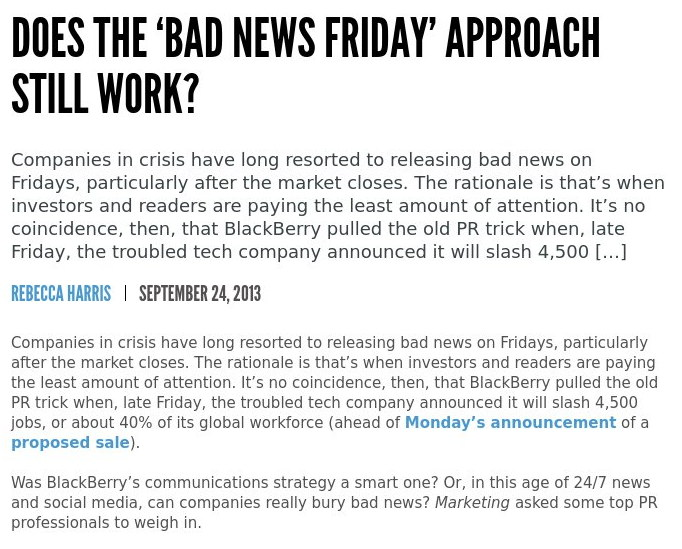 Bad news Friday