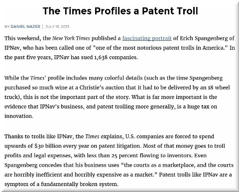 The Times Profiles a Patent Troll
