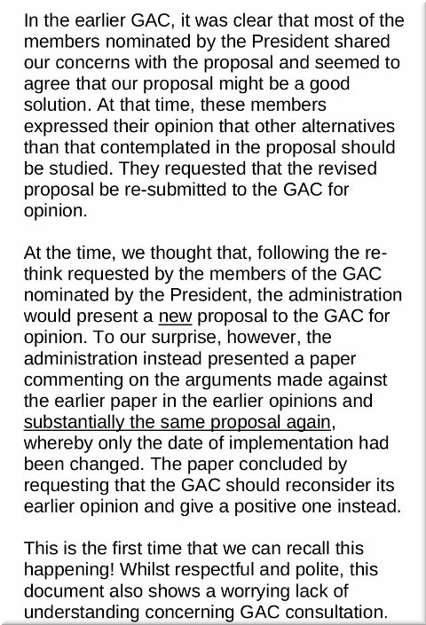 EPO ignoring the GAC (General Advisory Committee)