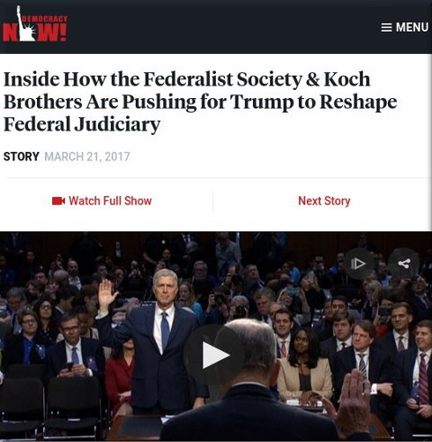 Inside How the Federalist Society & Koch Brothers Are Pushing for Trump to Reshape Federal Judiciary