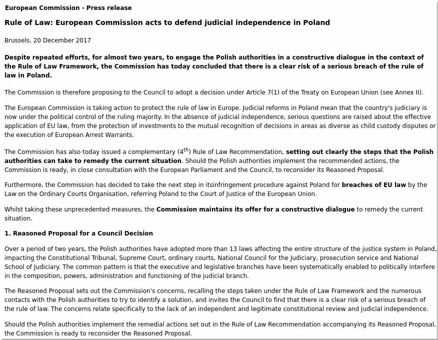 Rule of Law: European Commission acts to defend judicial independence in Poland