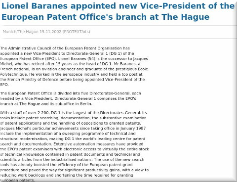 Lionel Baranes appointed new Vice-President of the European Patent Office's branch at The Hague