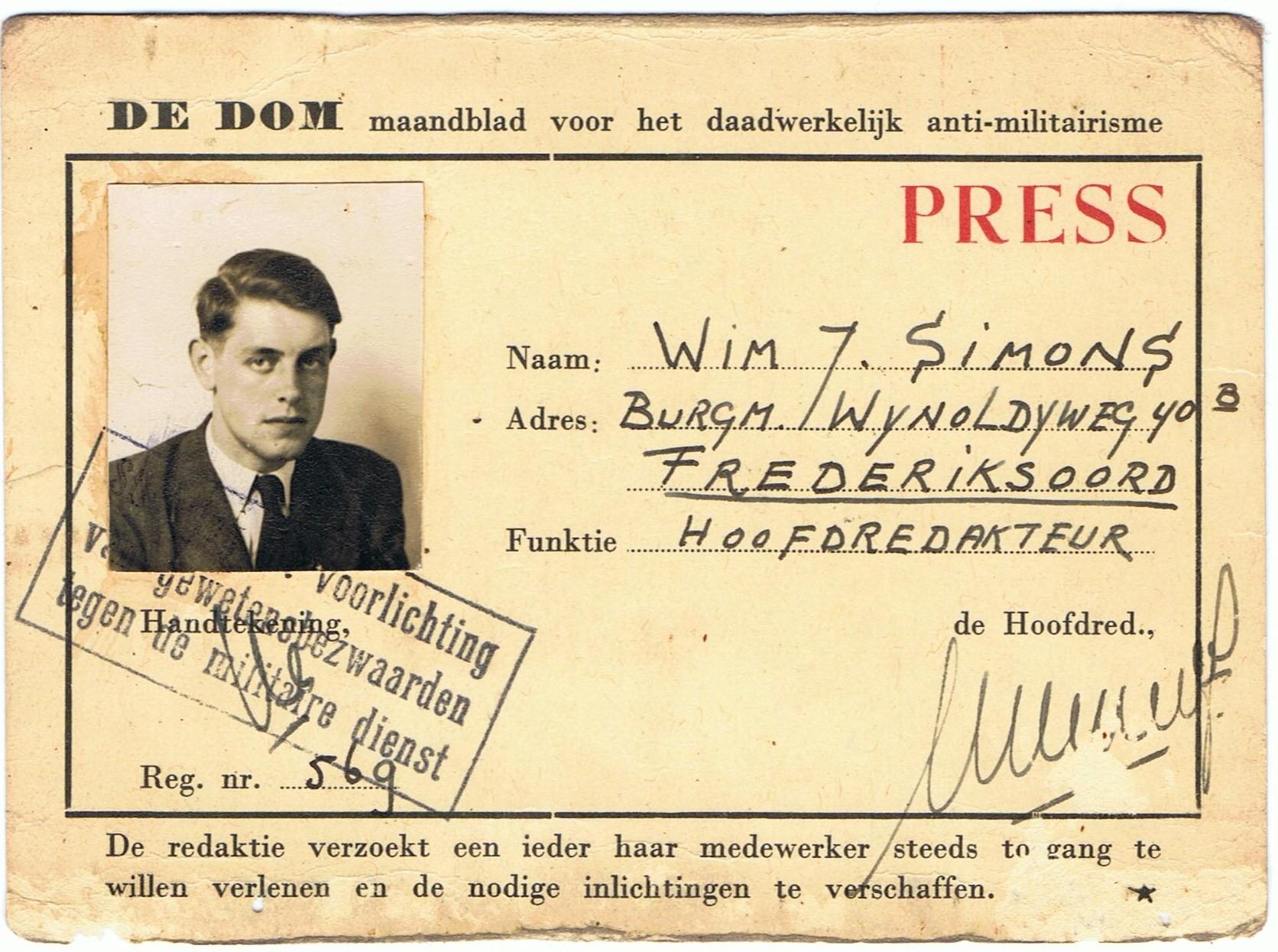 Perskaart Wim Simons