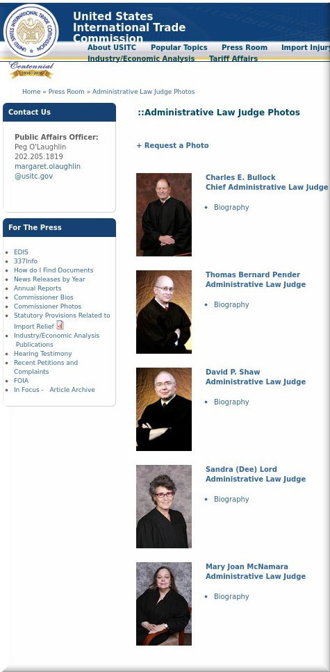 Administrative Law Judge Photos