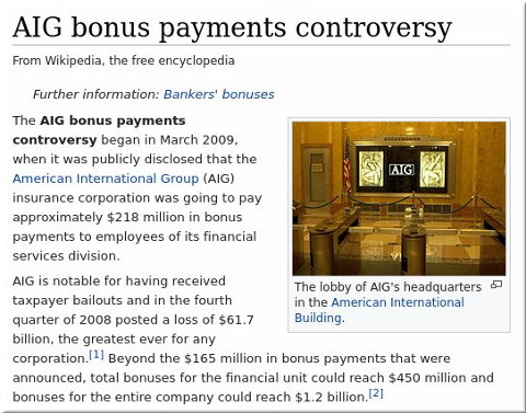 AIG bonus payments controversy