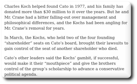 Cato Institute and Koch Brothers Reach Agreement - The New York Times