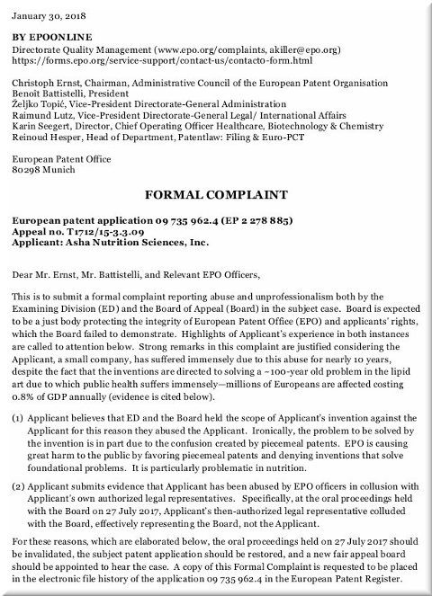 EPO complaint