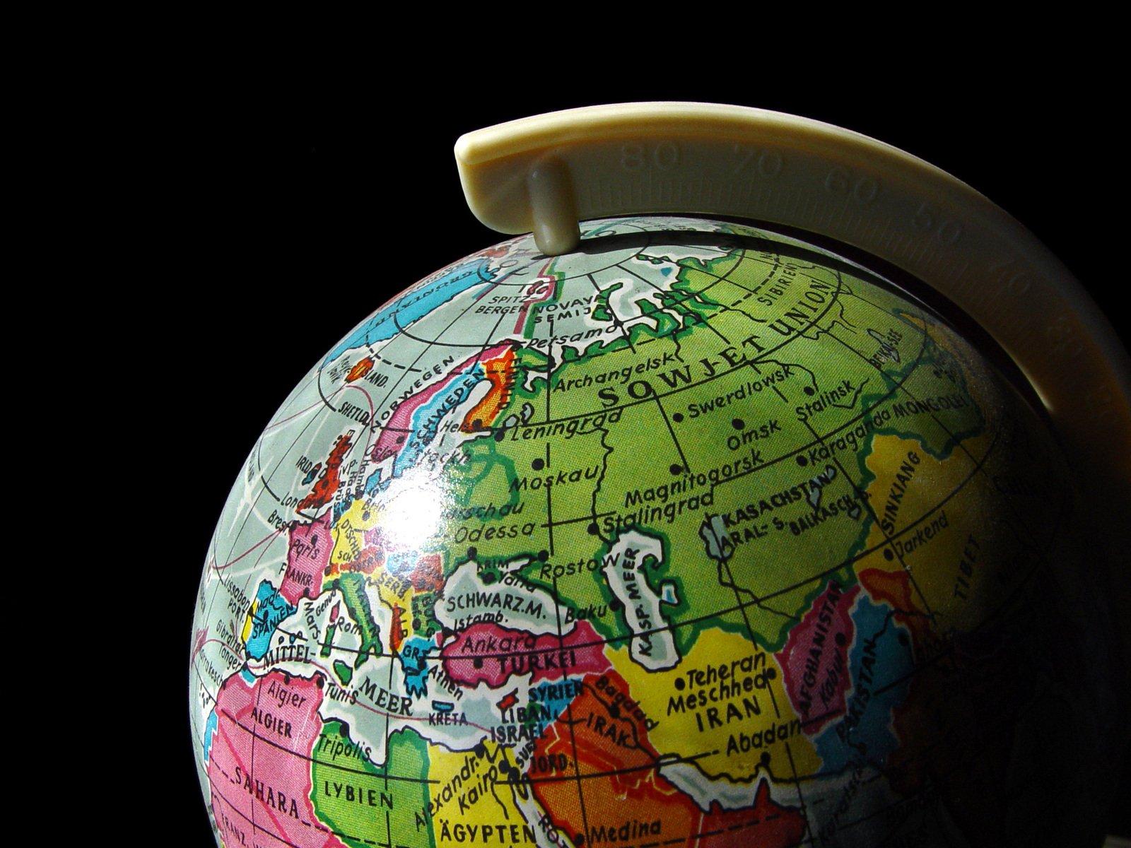 Europe-Asia in globe of Earth