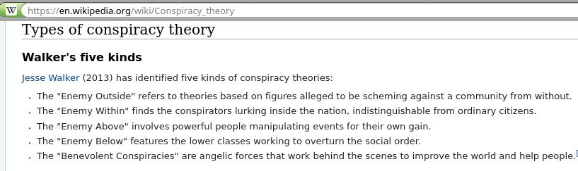 Types of conspiracy theory