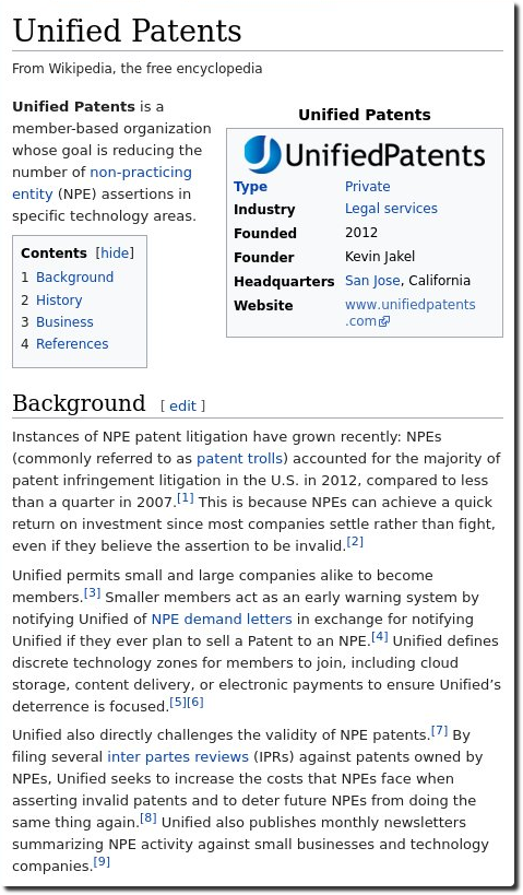 Wikipedia on Unified Patents