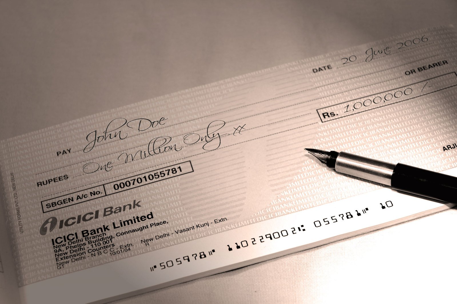 Writing a check for one million bucks