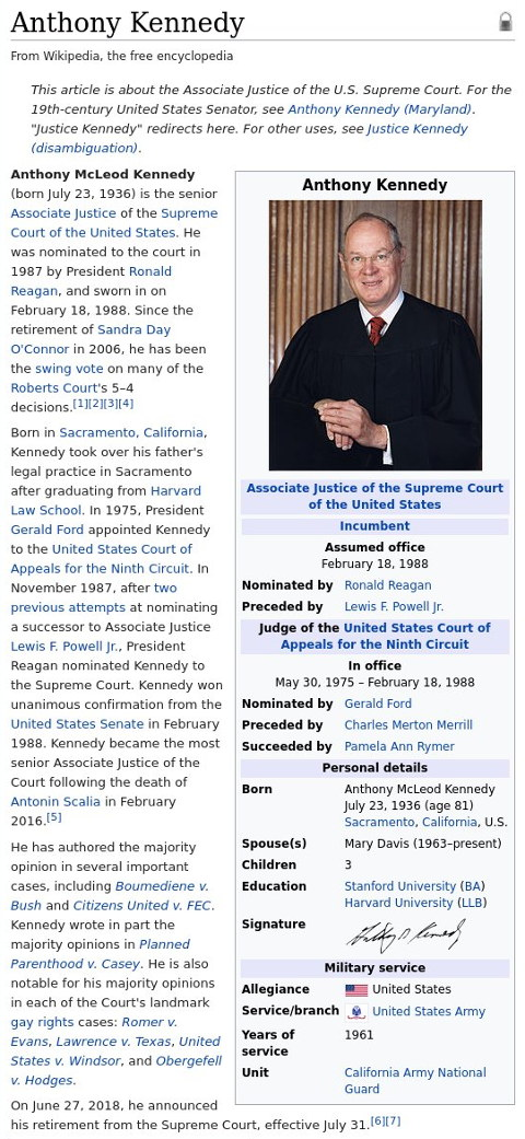 Anthony Kennedy on Wikipedia