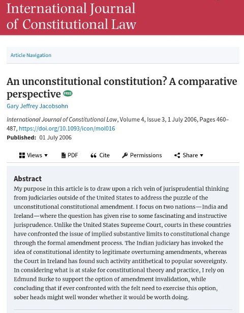 An unconstitutional constitution? A comparative perspective