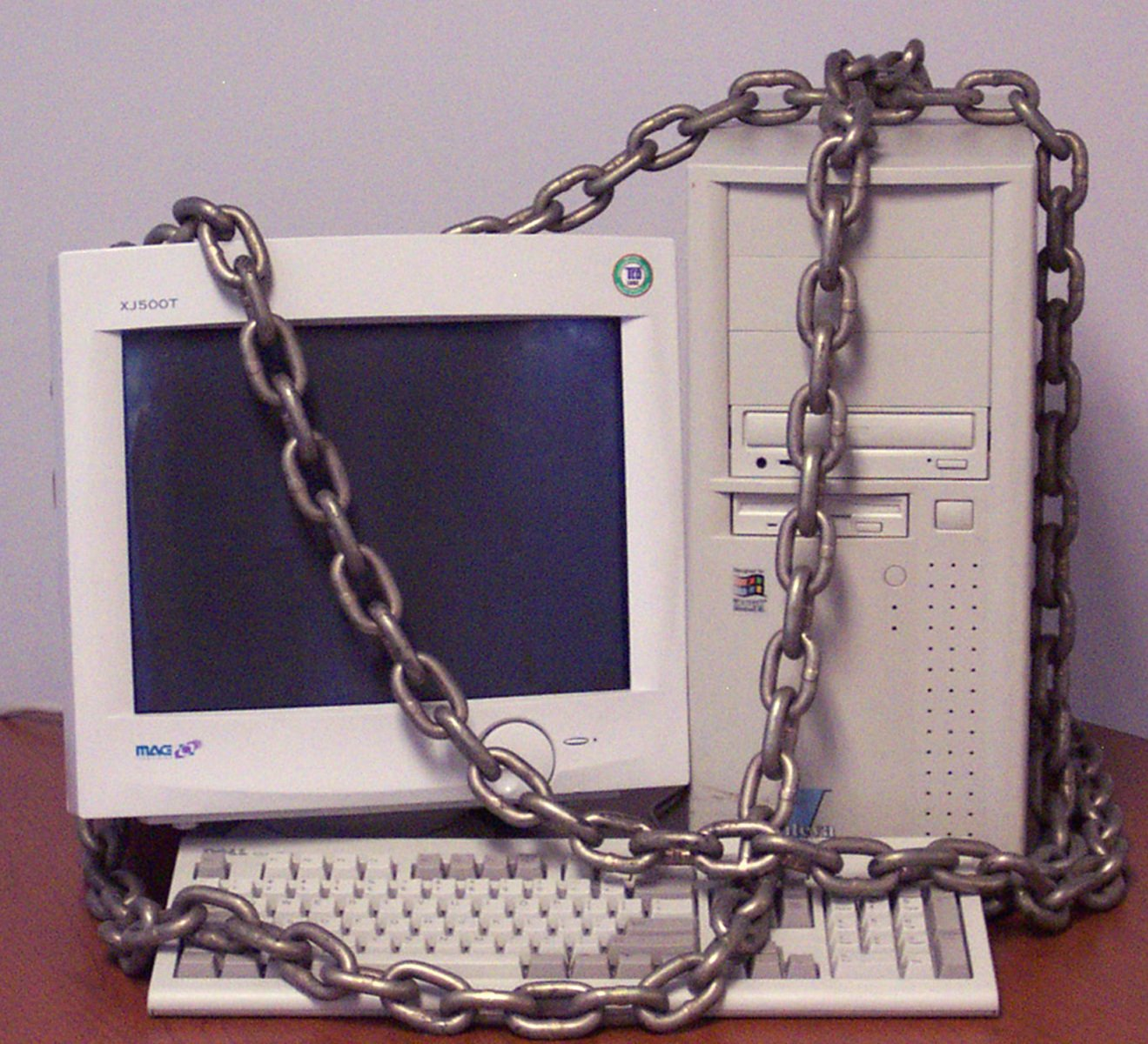 A computer chained