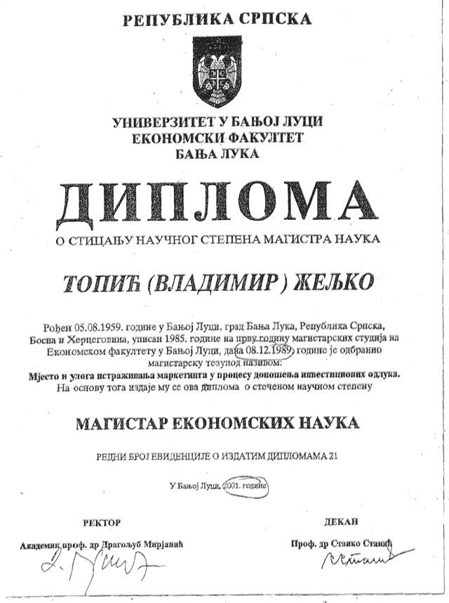 Topić diploma