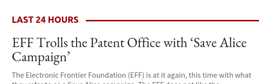 EFF Trolls the Patent Office with 'Save Alice Campaign'