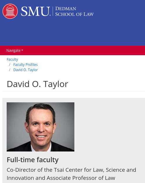 SMU's David O. Taylor, Associate Professor of Law at SMU Dedman School of Law