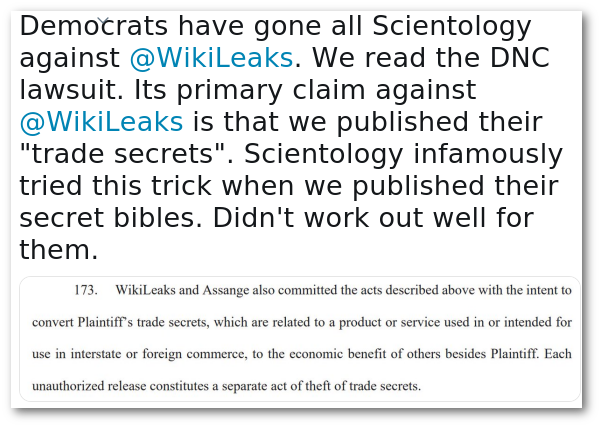 Wikileaks on Scientology and DNC